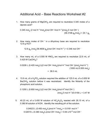 Worksheets Acid Base Reactions Worksheet ph additional acid base reactions worksheet 2