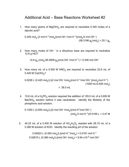additional acid base reactions worksheet 2