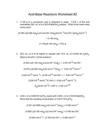 Worksheets Acid Base Reactions Worksheet 0 0181 mol h acid base reactions worksheet 2
