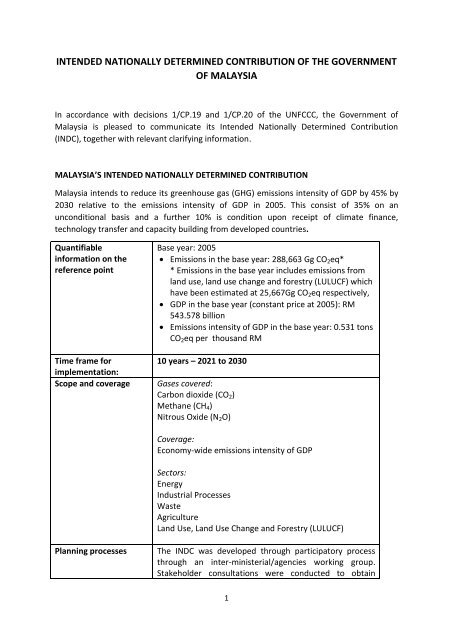INTENDED NATIONALLY DETERMINED CONTRIBUTION OF THE GOVERNMENT OF MALAYSIA