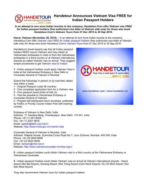 Handetour Announces Vietnam Visa FREE for Indian Passport Holders