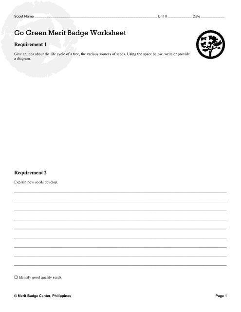 Go Green Merit Badge Worksheet