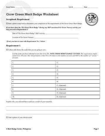 Aquanaut worksheet - Merit Badge Research Center