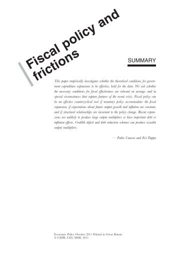 Fiscal policy, pricing frictions and monetary accommodation - CREI