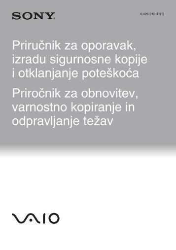 Sony SVS1311Q9E - SVS1311Q9E Guida alla risoluzione dei problemi Sloveno