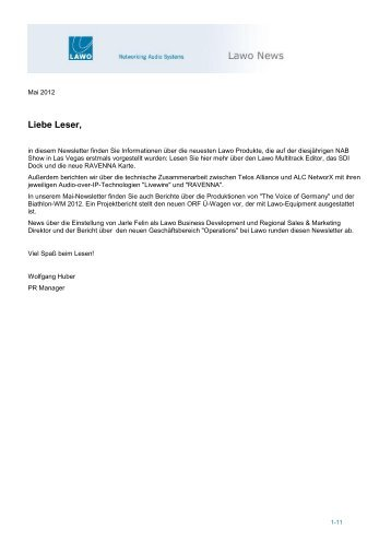 Lawo Newsletter – Mai 2012