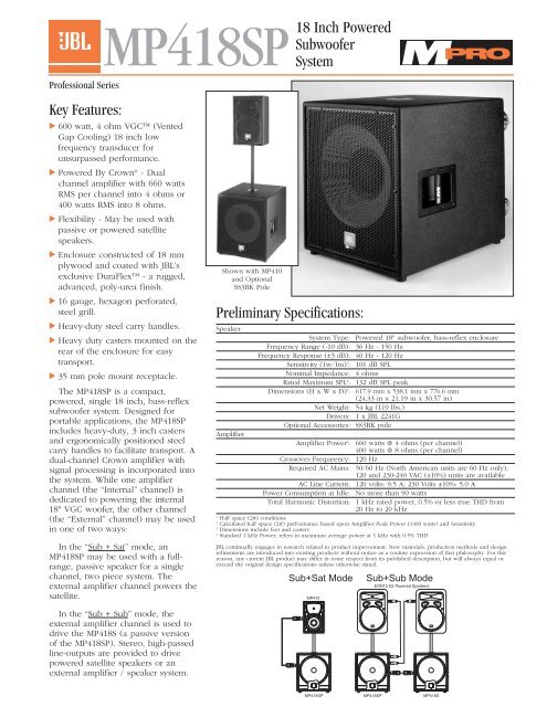 MP418SP 18 Inch Powered Subwoofer System - JBL Professional