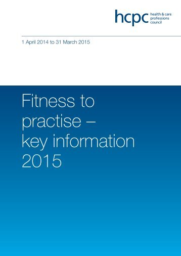 Fitness to practise – key information 2015