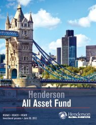 For more information - Henderson Global Investors
