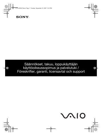Sony VGN-TZ2RMN - VGN-TZ2RMN Documenti garanzia Svedese