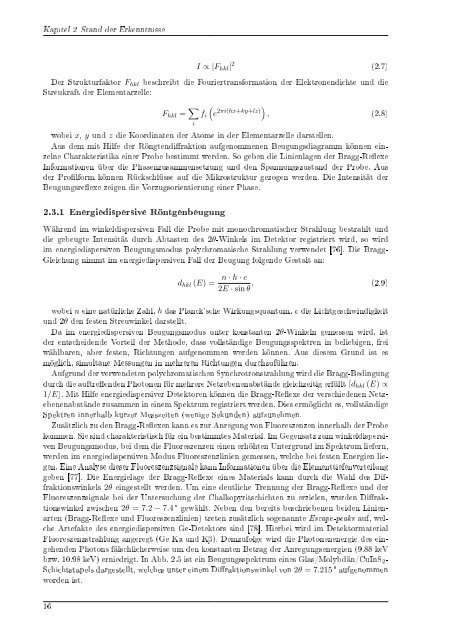 In situ Spannungs- und Strukturanalyse von Molybdän- und CuInS2 ...