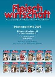 Inhaltsverzeichnis 2006 - Allgemeine Fleischer Zeitung