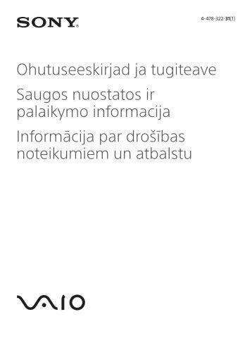 Sony SVP1321S9E - SVP1321S9E Documenti garanzia Estone