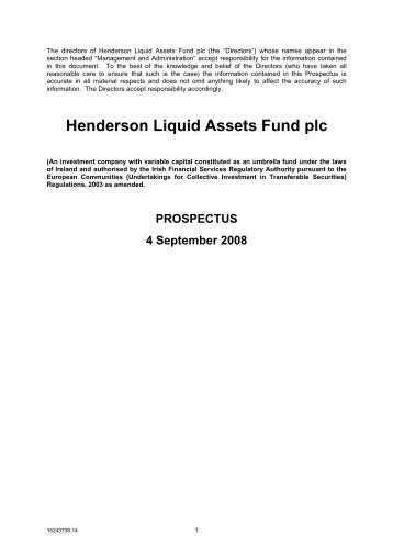 Henderson Liquid Assets Fund plc - Henderson Global Investors