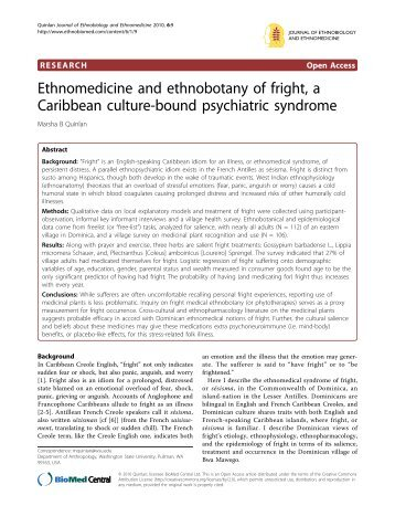Ethnomedicine and ethnobotany of fright, a Caribbean culture ...