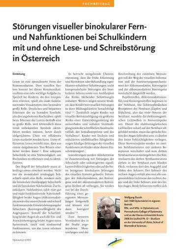 Störungen visueller binokularer Fern- und Nahfunktionen bei Schulkindern mit und ohne Lese- Schreibstörung in Österreich