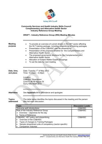 IRG meeting minutes - Community Services & Health Industry Skills ...