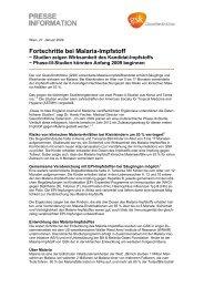 Fortschritte bei Malaria-Impfstoff - GlaxoSmithKline Pharma GmbH