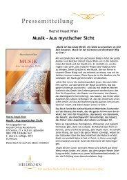 Musik - Aus mystischer Sicht von Hazrat Inayat Khan - Pressemitteilung