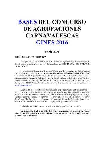 DE AGRUPACIONES CARNAVALESCAS GINES 2016