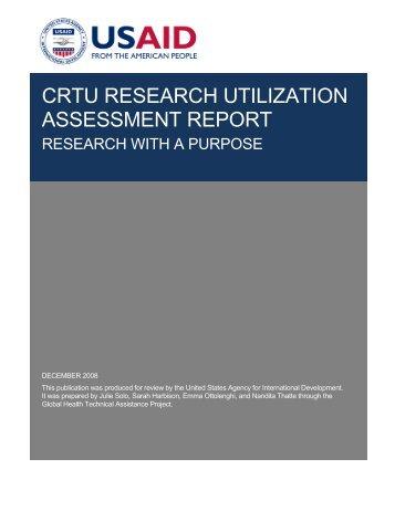 CRTU RESEARCH UTILIZATION ASSESSMENT REPORT - GH Tech