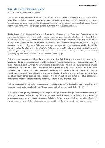 Trzy lata w Azji Andrzeja Mellera