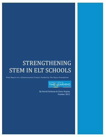 STRENGTHENING STEM IN ELT SCHOOLS