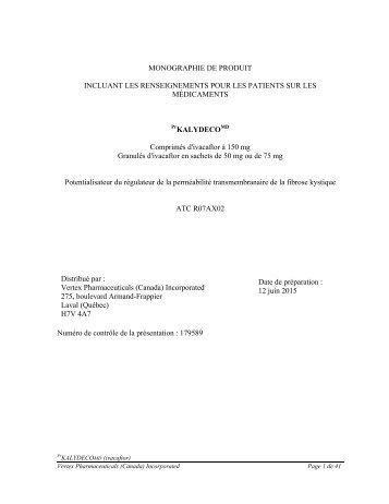 Télécharger la monographie du produit - Vertex Pharmaceuticals