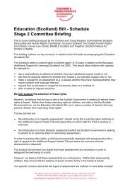 Education (Scotland) Bill - Schedule Stage 2 Committee Briefing