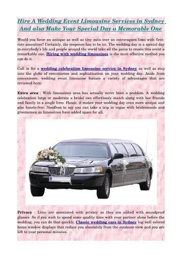 Hire A Wedding Event Limousine Services in Sydney And also Make Your Special Day a Memorable One