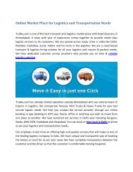 Online Market Place for Logistics and Transportation Needs - Trukky.com