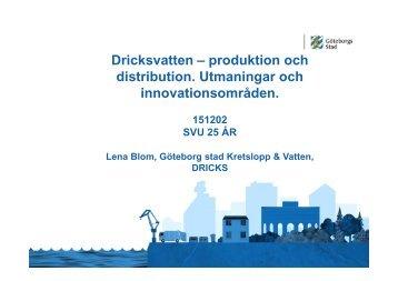 Dricksvatten – produktion och distribution Utmaningar och innovationsområden