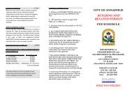 CITY OF ANNAPOLIS BUILDING AND RELATED PERMITS FEE SCHEDULE