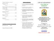 CITY OF ANNAPOLIS ELECTRICAL PERMITS FEE SCHEDULE