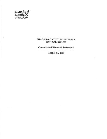 Niagara Catholic DSB Consolidated Financial Statements August 31%2c 2015