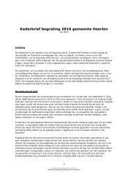 Kaderbrief begroting 2016 gemeente Heerlen