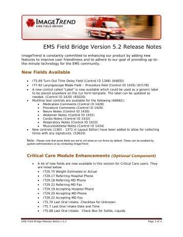 EMS Field Bridge Version 5.2 Release Notes