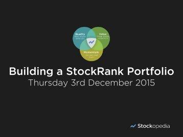 Building a StockRank Portfolio