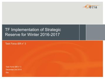 TF Implementation of Strategic Reserve for Winter 2016-2017