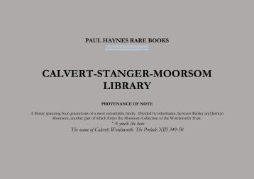 CALVERT-STANGER-MOORSOM LIBRARY