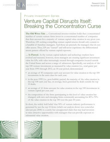 Venture Capital Disrupts Itself Breaking the Concentration Curse