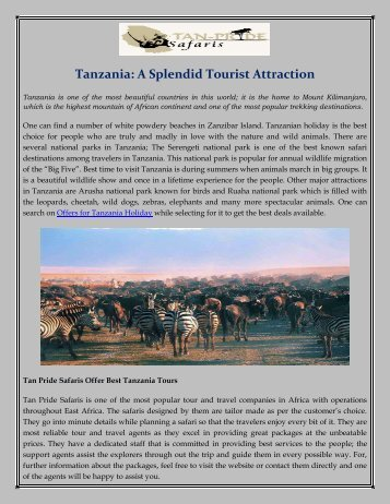Tanzania: A Splendid Tourist Attraction