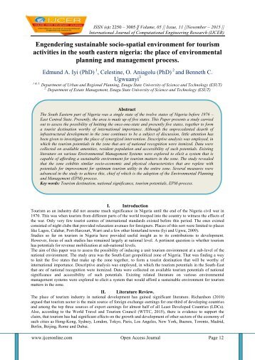 Engendering sustainable socio-spatial environment for tourism activities in the south eastern nigeria: the place of environmental planning and management process.