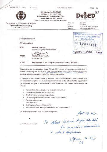 deped order 2012 memorandum   just b.CAUSE