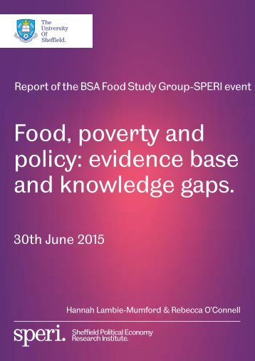 Food poverty and policy evidence base and knowledge gaps