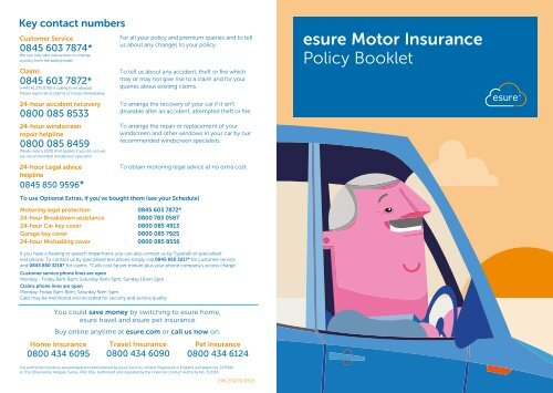 Esure Claims Number >> Esure Motor Insurance Policy Booklet