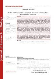 Studies of physico-chemical parameters of water of Rangawali dam, Navapur district Nandurbar
