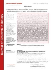Comparative efficacy of ivermectin (inj. vermic), fenbendazole (peraclear) and albendazole