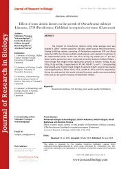 Effect of some abiotic factors on the growth of Oreochromis niloticus Linnaeus, 1758
