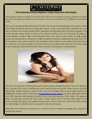 The Prominence of Escort System in Today's Busy Lives of the People